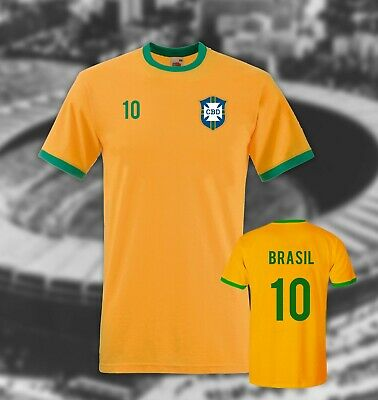 BRAZIL T-shirt Pele  Contrast Ringer Football Retro ideal for fancy dress