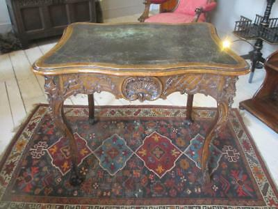 French Carved Walnut Writing Table Antique Circa 19th Century. WNC03388