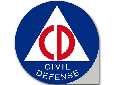 4x4 inch Round Civil Defense Logo Sticker - bumper seal insignia cd civilians us
