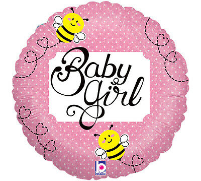 "Baby Girl Dots Round 18"" Foil Bumblebee Pink Baby Girl Shower Party 3 Pack Event"