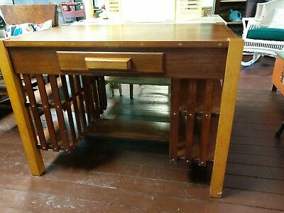 Mission Arts & Crafts Oak Bookcase Side Library Desk with sml Inlay detailing