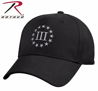 Rothco Black Three 3 Percenter Embroidered Military Low Profile Cap / Hat  #8997