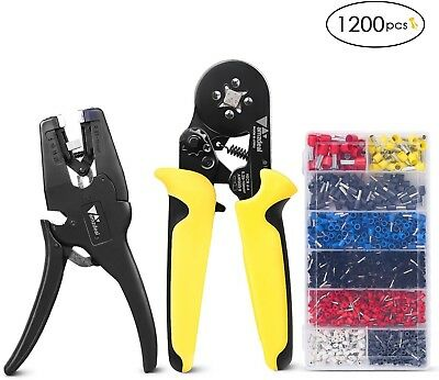 Amzdeal Wire Crimping Tool Kit Ferrule Wire Crimper With Wire Stripper And 1200