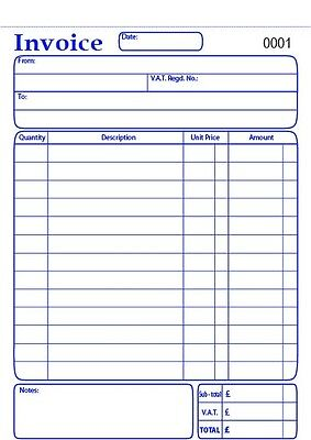 Invoice Book Duplicate Carbonless (NCR), 50 sets, numbered, perforated.