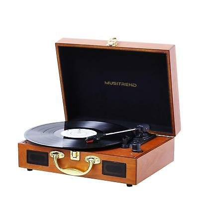 Vintage Record Player,3-Speed Portable Suitcase Turntable Built-In Stereo Retro