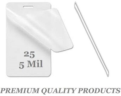 """25 LUGGAGE TAGS Laminating Pouches W/Slot 2-1/2 x 4-1/4 5 Mil 6"""" Clear Loops"""