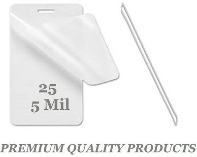 """LUGGAGE TAGS Laminating Pouches W/Slot 2-1/2 x 4-1/4 25 pk 5 Mil 6"""" Clear Loops"""