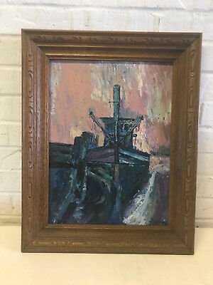 Oil on Canvas Board Impressionist Style Shrimp Boat Signed Painting