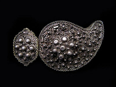 EXTREMELY RARE BREATH-TAKING ANTIQUE 1800's SILVER FILIGREE BUCKLE!!!