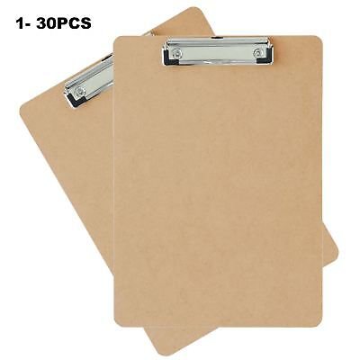 1-30 A4 Quality Wooden Masonite Clipboard Spring-Loaded Clip Grip Hanging Hole