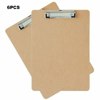 6 x A4 Quality Wooden Masonite Clipboard Spring-Loaded Clip Grip Hanging Hole