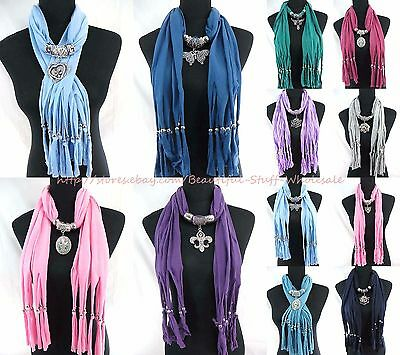 US SELLER-lot of 10 wholesale scarves fashion pendant scarf necklace