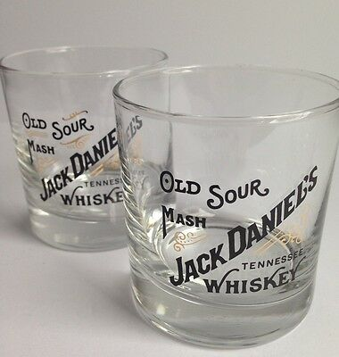 Vintage Pair of Jack Daniel's Tennessee Whiskey Lowball Glasses, Man Cave Decor