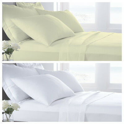 TC 400 Plain Dyed 100 % Pure Egyptian Cotton Flat Bed Sheets All Sizes luxury