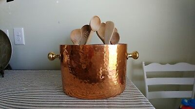 Vintage Hammered Oval Copper Pot With Divider And Assortment Of Wooden Utensils