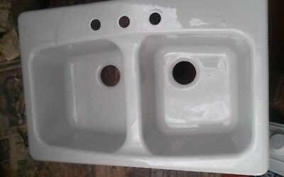 Vintage kohler cast iron kitchen sink 5000 picclick kohler drop in cast iron 38 3 hole gray double bowl basin workwithnaturefo