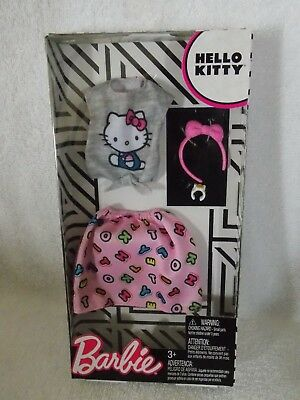 New Barbie Hello Kitty Fashion Pack Pink Alphabet Skirt Gray Shirt Bow Headband