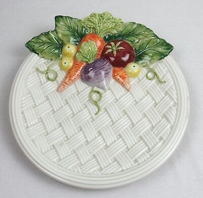 Fitz and Floyd Serving Plate Basket Weave Garden Vegtables Ceramic Hand Painted