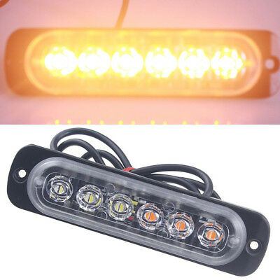 6 LED Amber Car Truck Emergency Beacon Warning Hazard Flash Strobe Light Lamp