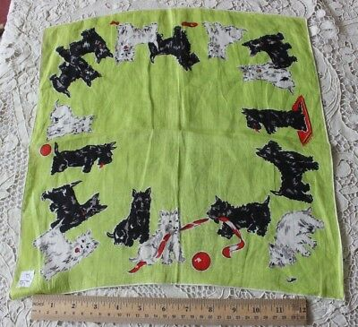 "Vintage Scottie Dog Printed Border Cotton Handkerchief c1938-1940~15"" Square"