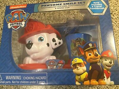 Nickelodeon Paw Patrol Toothbrush, Toothbrush Holder, Rinse Cup Gift Set, 3pcs