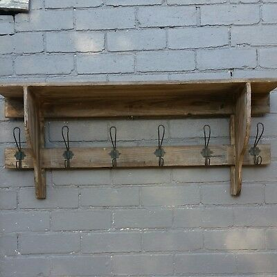 Unique Rustic Wooden hat and coat wall stand with shelf 100cm W, 40cm H, 20cm D.