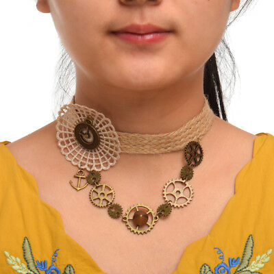 Gothic Steampunk Gear Rivet Necklace Victorian Lace Party Wedding Choker White
