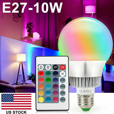 10W E27 RGB LED Lamp Bulb 16 Color Changing Globe Light+ IR Remote Control Party