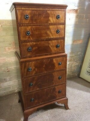 Antique Georgian Style Flamed Mahogany Chest on Chest Tallboy Delivery Available