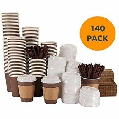 SUPER JUMBO Set Of 140 - 12 Oz Disposable Hot Paper Coffee Cups With Lids, And