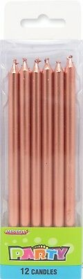 Tall Metallic Rose Gold Candle 12 Birthday Wedding Baby Shower Cake Topper Party