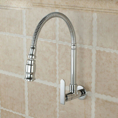 Durable Single Handle Kitchen Faucet Cold Water Wall Mounted Brass Taps Flowery