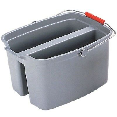 Gray Double Pail Brute 19 Qt. Square Wide Pour Spout Molded Plastic Handle New