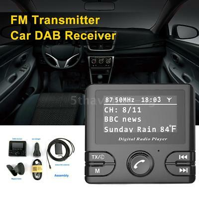 "2.4"" LCD Car DAB+ Receiver Tuner FM Transmitter Adapter + Antenna USB Plug J0X7"