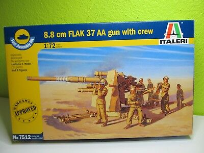 124MB - Italeri 7512 - 1:72 - Bausatz 8,8 FLAK 37 AA with gun crew - top in OVP