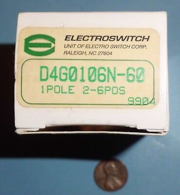 ROTARY SWITCH 6 POSITIONS #D4G0106N60 - 1 POLE 2-6POS by ELECTROSWITCH