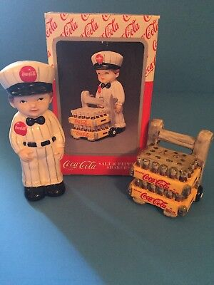 Coca Cola Delivery Man With Coke Cases Salt And Pepper Shakers 1997