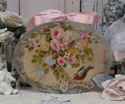 """Shabby Chic ~ Vintage ~ Country Cottage style ~ Wall Decor Sign """"Birds & Roses"""""""