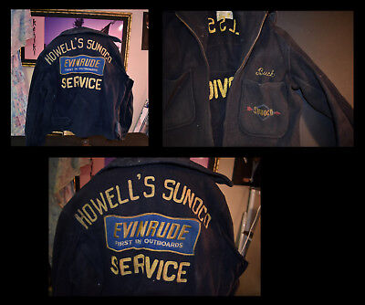 Rare 1940s Sunoco Gas Service Station Wool Jacket Evinrude Patch Straight Arrow