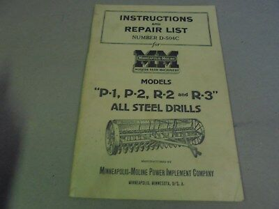 Vintage Minneapolis Moline Steel Drill Instructions and Parts List manual
