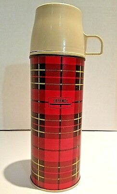 Vintage Thermos King Seeley Metal Insulated Red Plaid 1964