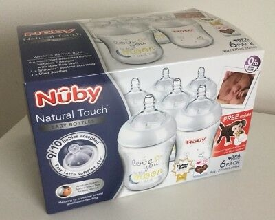 Nuby Natural Touch Anti Colic 270ml Bottles with Snoozies and Soother Pack of 6