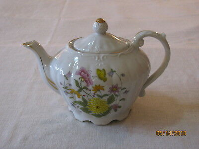Vtg Norleans Musical Teapot,Floral w/Butterfly Design,Works But Not Well,Japan