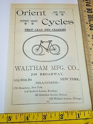 NEAT OLD 1896 Ad Advertising ORIENT CYCLES WALTHAM MFG CO Bicycles New York NY