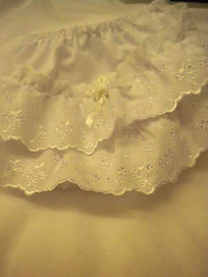 Baby's Frilly Knickers By Pex 0/6 6/12 12/18 18/24 Mths White Daisy Design