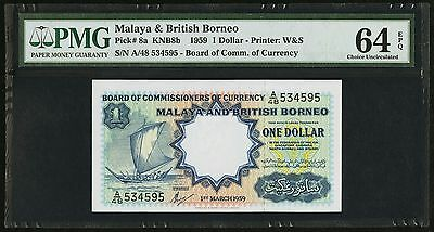 """PMG-64 EPQ"" 1959 Malaya British Borneo 1 Dollar P-8a ""A/48 534595"", Printer W&S"