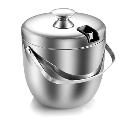 Ice Bucket,Insulated Stainless Steel Double Walled Lid Ice Tongs, 2.8L-Silver