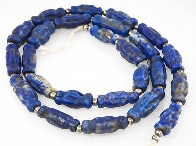 Ancient Collectible RARE Old Bactrian Lapis Lazuli Capsule fluted Bead Strand