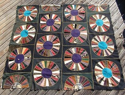 Victorian Silk Wool Crazy Quilt Dresden Plate 62 x 72 Embroidered As Is