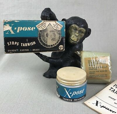 X-POSE Stops Tarnish Vintage Cream & Cloth Easy Prevent Tarnish NOS XPOSE Polish